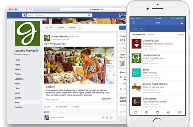 Facebook now lets companies post job listings