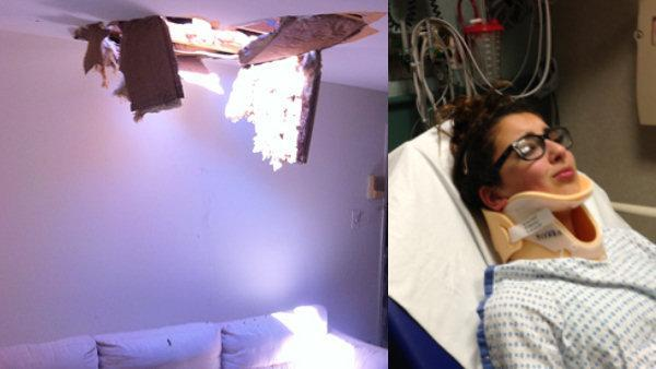 Worker falls through roof, injures 12-year-old girl