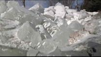 Mother nature piles ice on Lake Winnebago in Wisconsin