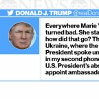 President Trump tweets about Marie Yovanovitch during testimony