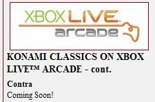 """XBLA, Contra and Gyruss coming """"soon"""""""