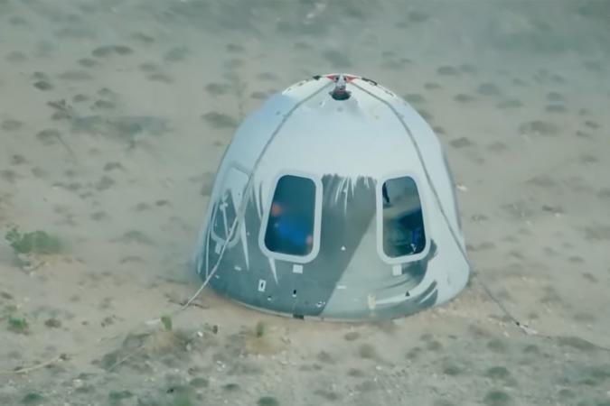 Blue Origin New Shepard capsule touchdown after first human spaceflight