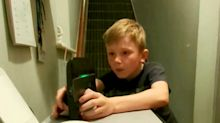 Cheeky nine-year-old caught red-handed turning the wifi on
