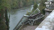 Al menos un muerto al hundirse un puente en Francia