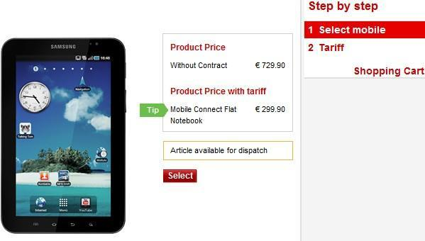 Samsung Galaxy Tab costs €730 from Vodafone.de, €300 if bought with a two-year data plan