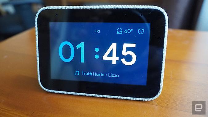 Lenovo Smart Clock on a nightstand