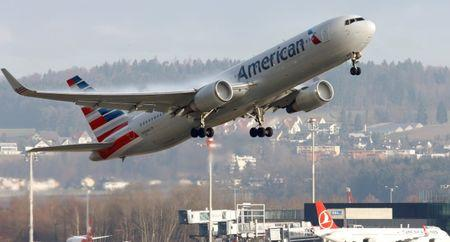 American Airlines Boeing 767 aircraft takes off from Zurich Airport