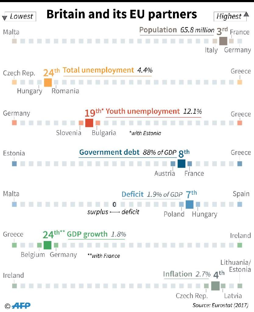 Socio-economic indicators comparing the UK with other EU states (AFP Photo/)
