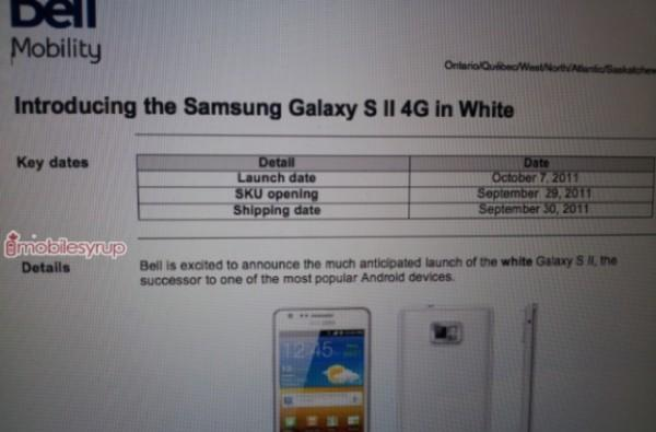 White Galaxy S II gets not-so-festive October launch in Canada