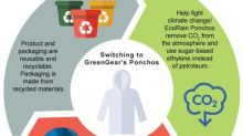 "GreenGear Supply Company's EcoRain Ponchos ""Go Green"" with Braskem's Sustainably Sourced Sugarcane Based Bioplastic"