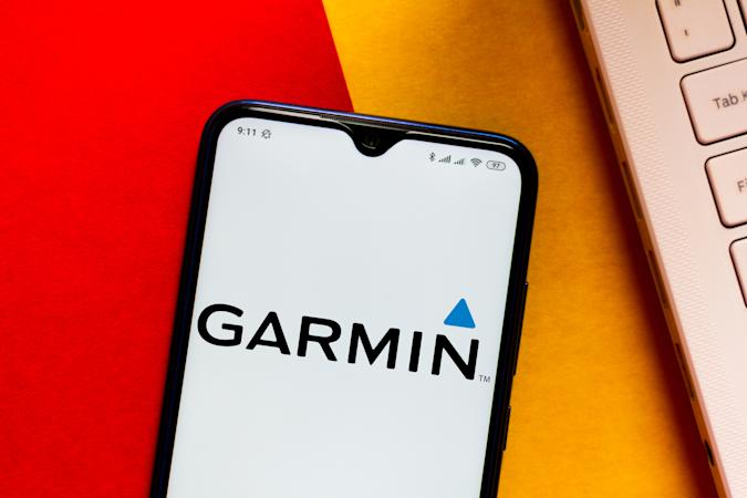 BRAZIL - 2020/06/08: In this photo illustration the Garmin logo seen displayed on a smartphone. (Photo Illustration by Rafael Henrique/SOPA Images/LightRocket via Getty Images)