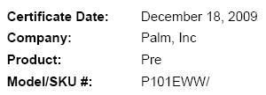 Palm smartphone pops up in WiFi certification database: is this Verizon's Pre?
