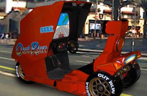 Ferrari-styled OutRun arcade machine set for crazy scooter transformation? (video)