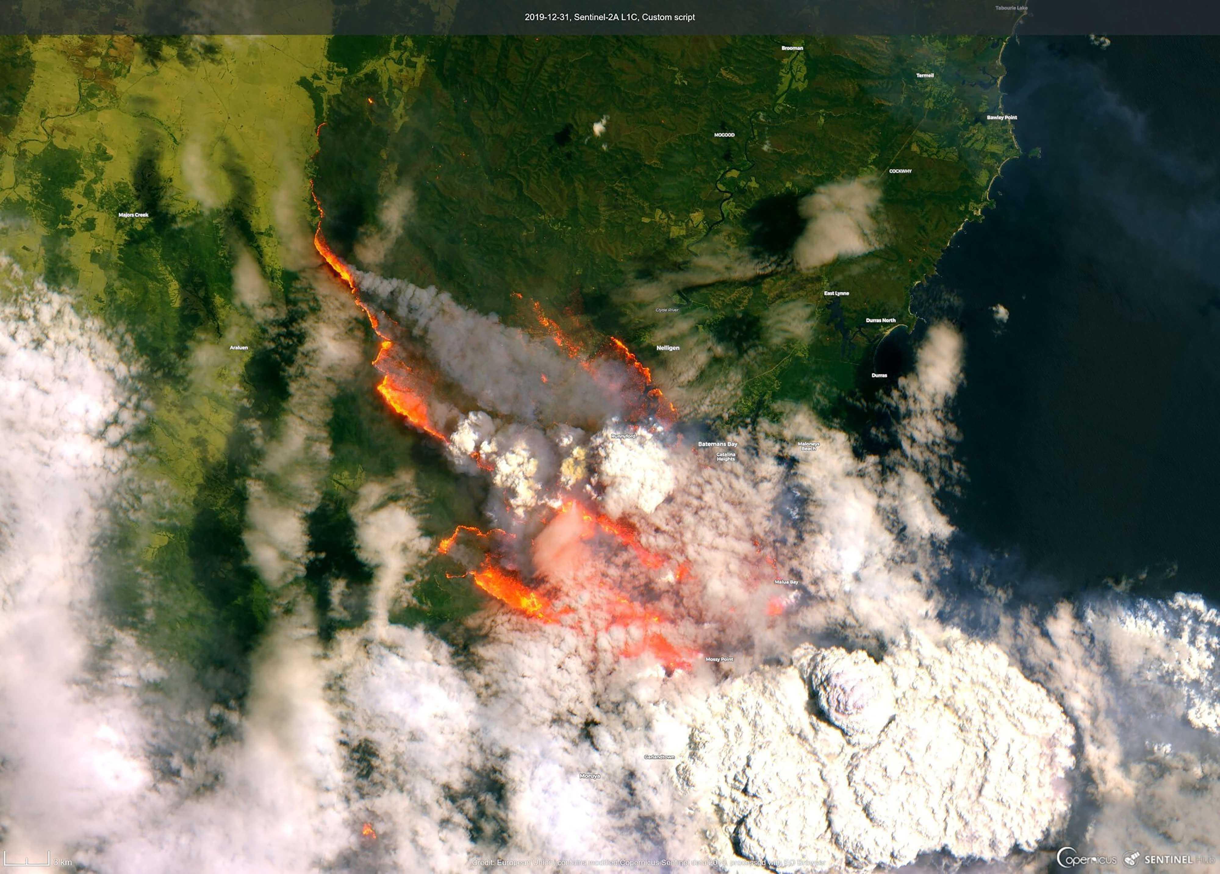 In this satellite image released by Copernicus Sentinel imagery, 2020 twitter page dated Dec. 31, 2019, shows wildfires burning across Australia. (Copernicus Sentinel Imagery via AP)