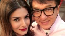 Selfie mode on! Jackie Chan and Raveena Tandon pose for an adorable pic on the sets of TKSS!