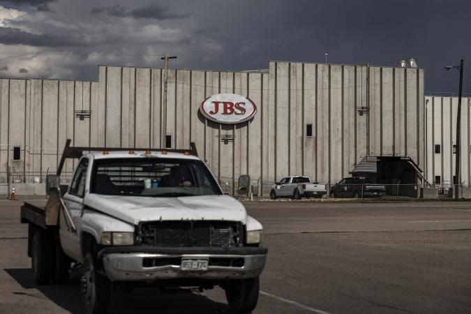 GREELEY, CO - JUNE 01: A JBS Processing Plant stands dormant after halting operations on June 1, 2021 in Greeley, Colorado. JBS facilities around the globe were impacted by a ransomware attack, forcing many of their facilities to shut down. (Photo by Chet Strange/Getty Images)