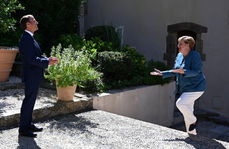France's President Emmanuel Macron and German Chancellor Angela Merkel meet at Fort de Bregancon