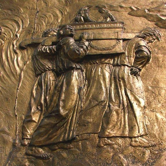 This bas-relief image showing the Ark of the Covenant being carried is from the Auch Cathedral in France. A newly translated Hebrew text claims to reveal the locations of treasures from King Solomon's Temple and discusses the fate of the Ark it