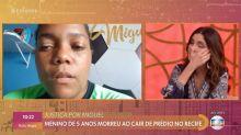 Fátima Bernardes chora durante entrevista com mãe de Miguel