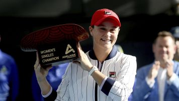Billboard star Barty 'a bit sick of' being poster girl for Australian Open