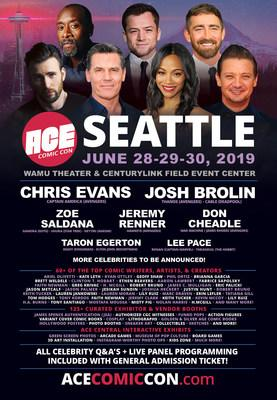 Chris Evans, Josh Brolin, Zoe Saldana, Jeremy Renner, Don Cheadle, Lee Pace, & Taron Egerton Headline Ace Comic Con's Return To Seattle At WAMU Theater & CenturyLink Field Event Center