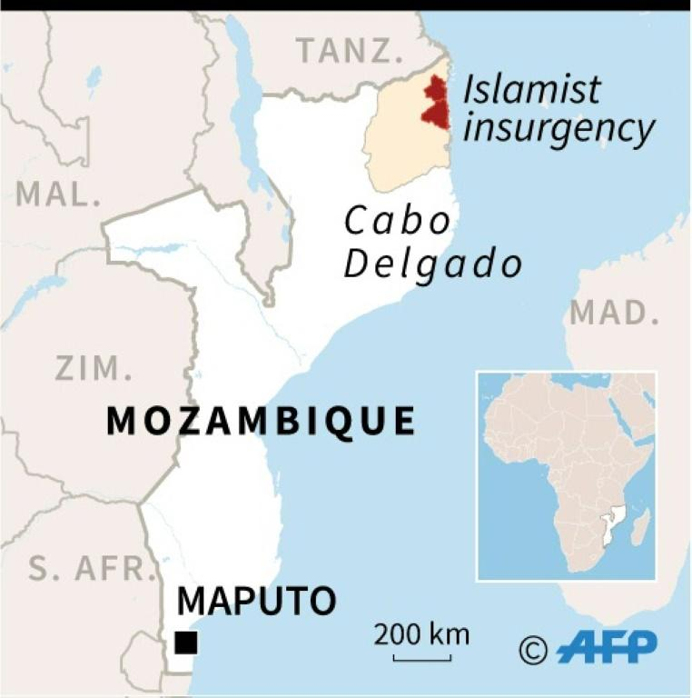 Map of Mozambique, showing districts of Cabo Delgado province affected by the Islamist insurgency (AFP Photo/Gillian HANDYSIDE)