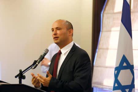 Israeli Education Minister Naftali Bennett, speaks during a briefing to members of the foreign press association, in Jerusalem November 14, 2016. REUTERS/Ronen Zvulun