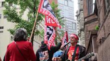 Union workers protest at Wabtec shareholders meeting