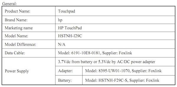 HP TouchPad hits the FCC