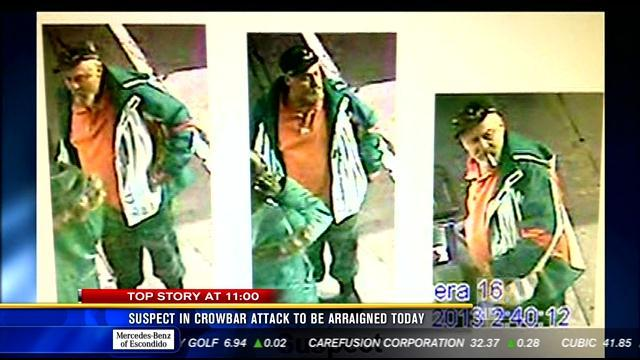 Suspect in crowbar attack to be arraigned Wednesday