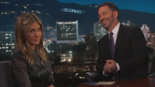 Jennifer Aniston and Jimmy Kimmel reminisce about his daughter pooping on her lawn