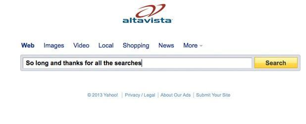 Yahoo shutting down a dozen products, including AltaVista and Axis