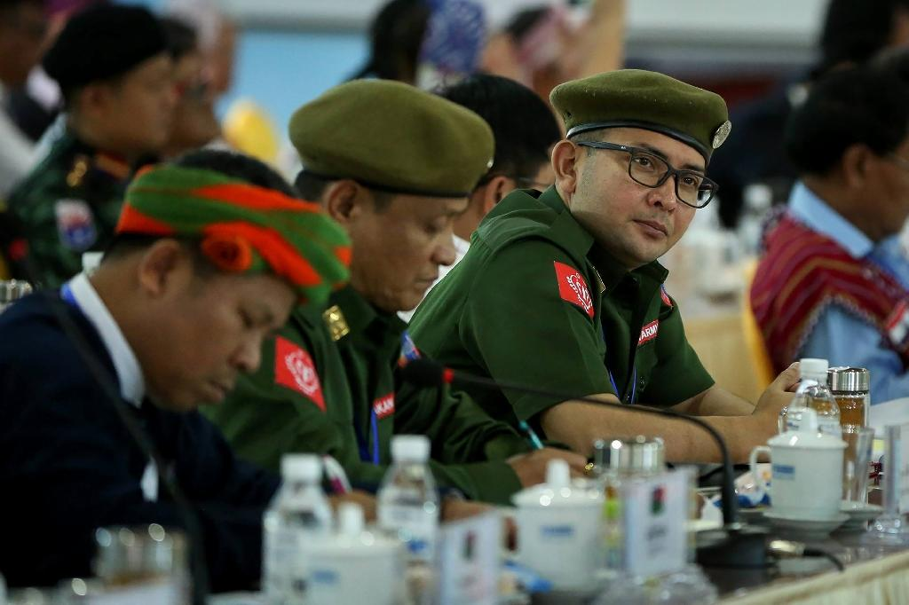 Leaders of the Arakan Army gather with other rebel leaders and representatives of various Myanmar ethnic rebel groups at the opening of a four-day conference in Mai Ja Yang near the Chinese border (AFP Photo/STR)