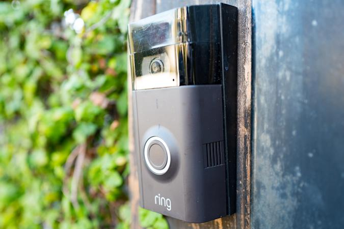 Close-up of Ring doorbell, equipped with a camera and machine learning capabilities, installed outside a home in the Marina Del Rey neighborhood of Los Angeles, California, October 21, 2018. (Photo by Smith Collection/Gado/Getty Images)
