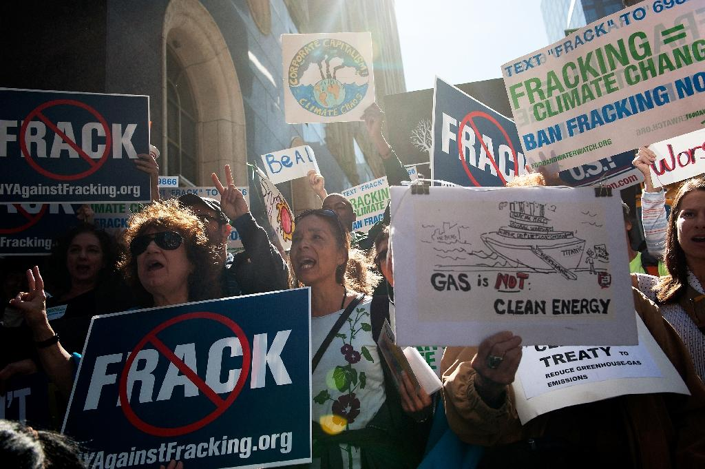 File picture shows anti-fracking demonstrators in New York as world leaders gathered for a UN General Assembly (AFP Photo/Bryan Thomas)