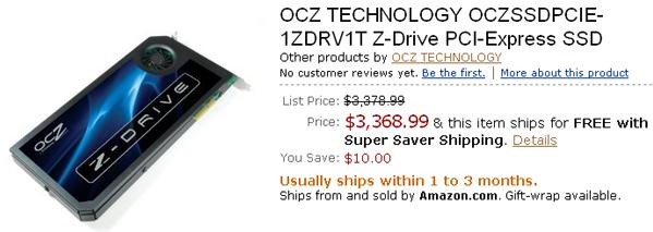 OCZ's Z-Drive priced at Amazon: $1,561 and way up
