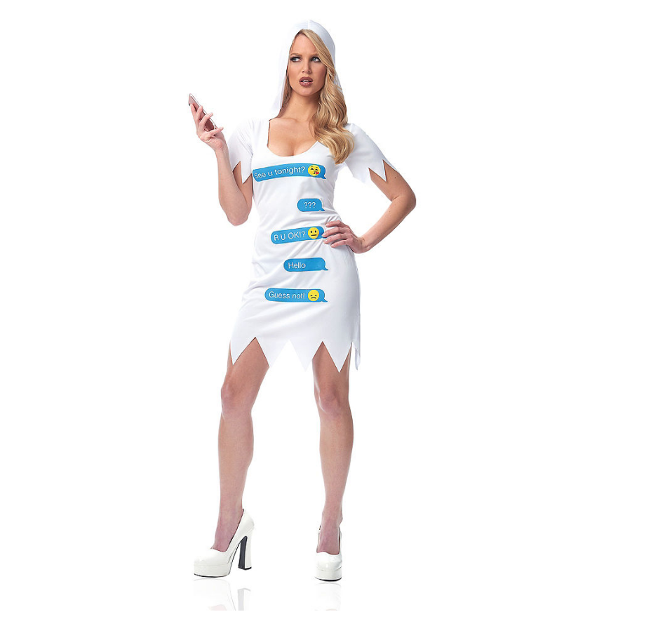 "party city is selling a ""ghosted"" halloween costume"