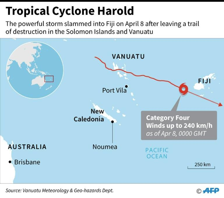 Map locating Tropical Cyclone Harold that slammed into Fiji on Wednesday, after leaving a trail of destruction in the Solomon Islands and Vanuatu (AFP Photo/AFP )