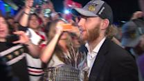 RAW: Patrick Kane arrives to Harry Caray`s with MVP award