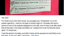 Un niño autista confiesa su triste realidad en sus deberes