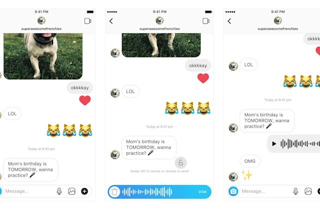 Instagram adds walkie-talkie voice messages