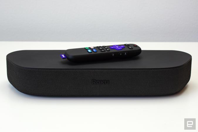 Roku Streambar soundbar on a white table.