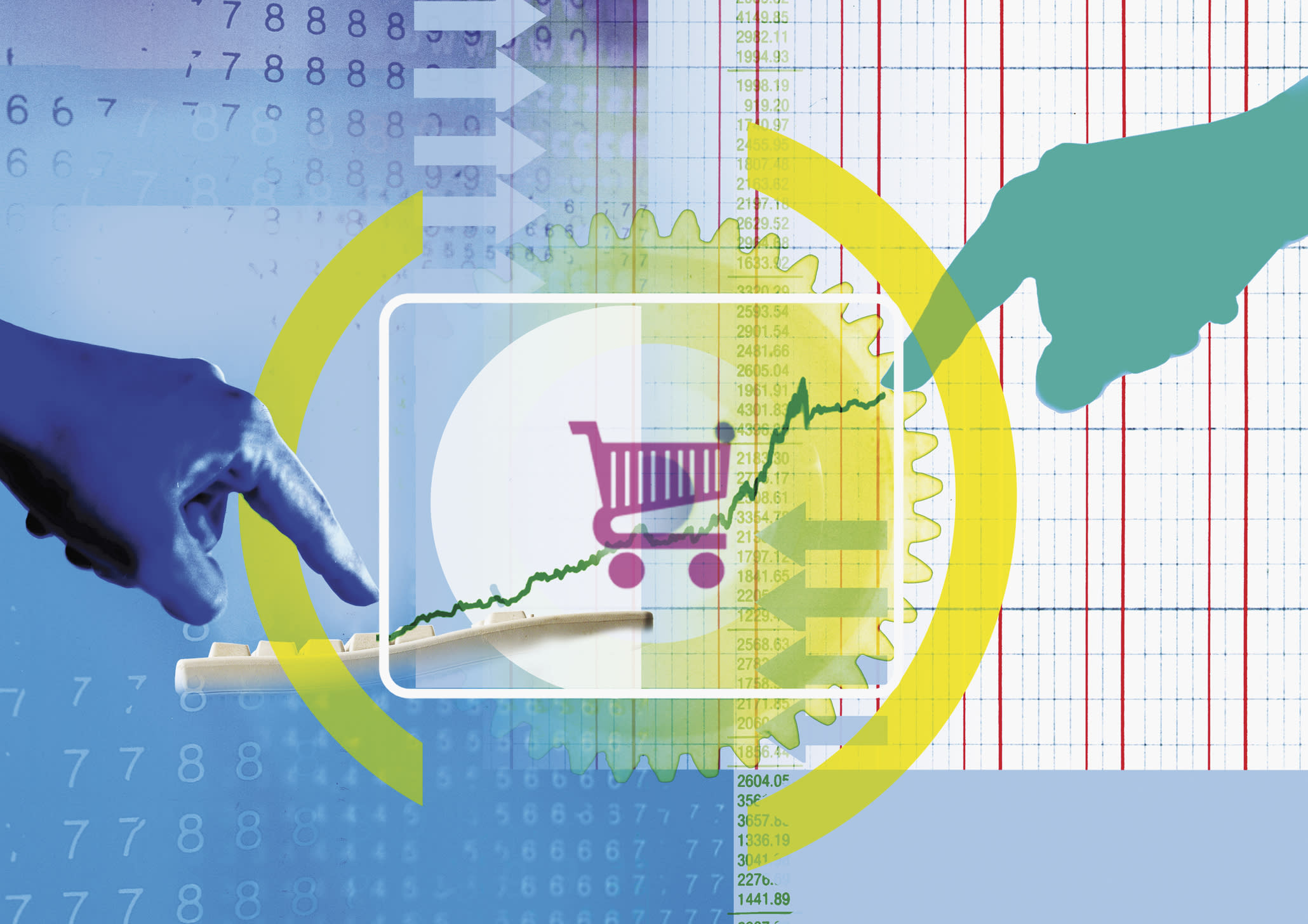 Collage of hands, graph, shopping cart and computer keyboard