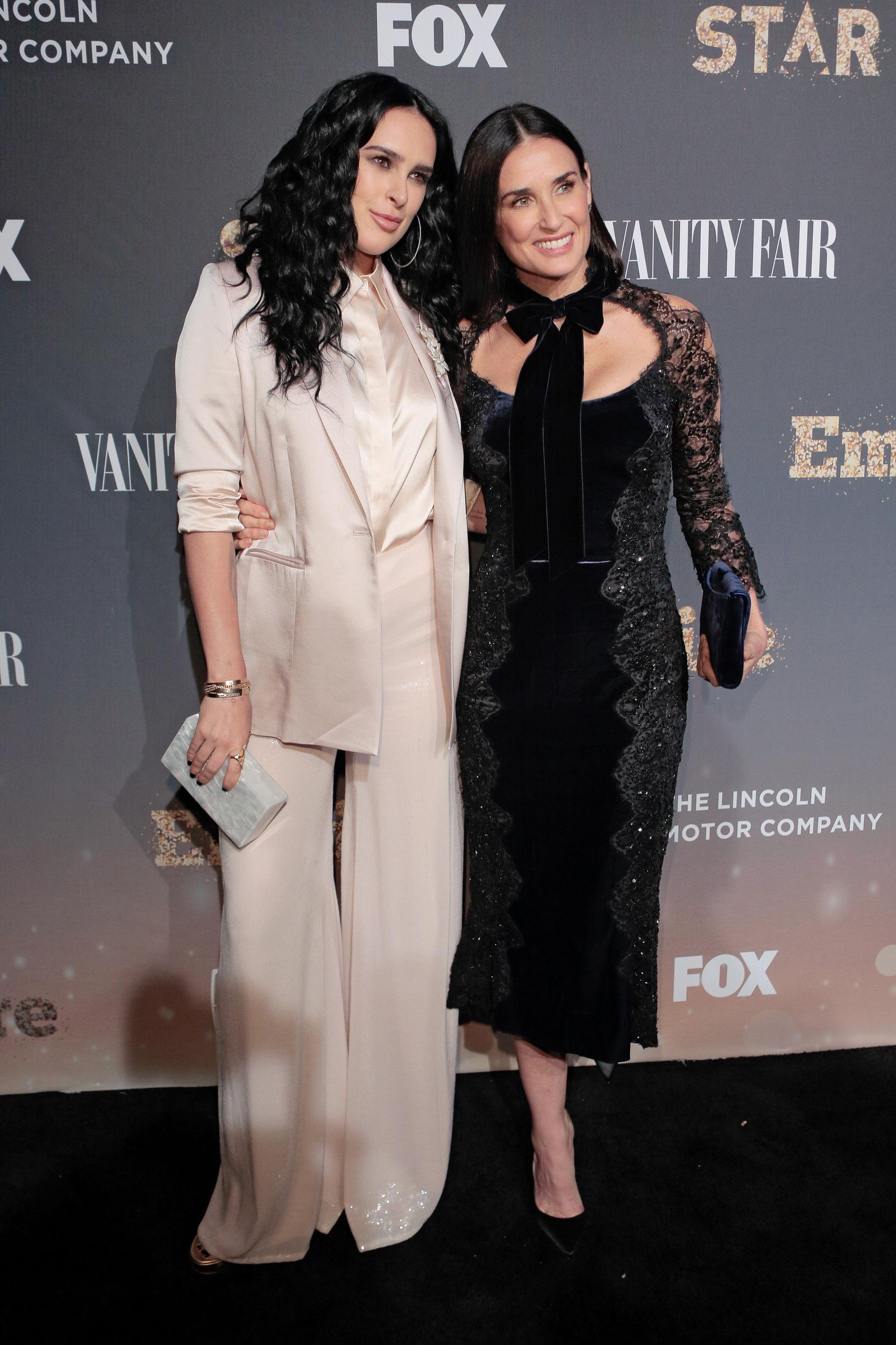 NEW YORK, NY - SEPTEMBER 23:  Actress Demi Moore  poses with her daugther Rumer Willis (Tory Ash also on Empire) poses on the red carpet during the 'Empire' & 'Star' Celebrate FOX's New Wednesday Night at One World Observatory on September 23, 2017 in New York City.  (Photo by Randy Brooke/WireImage)