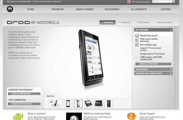 Motorola Droid's website published a bit early, with specs galore