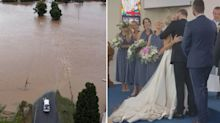 Pregnant bride-to-be stranded by floods on wedding day