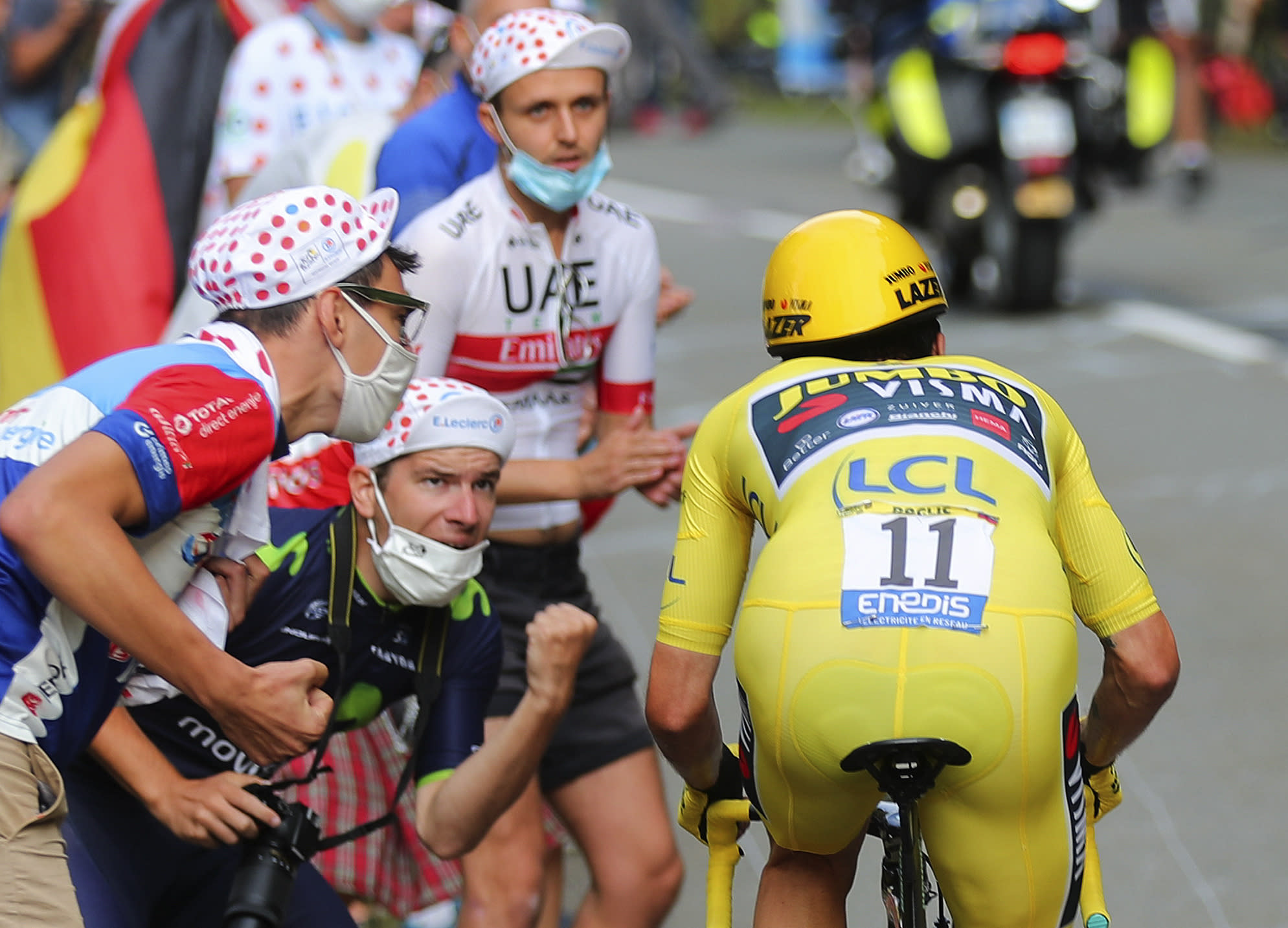 Slovenia's Primoz Roglic, who lost his overall leader's yellow jersey, competes during stage 20 of the Tour de France cycling race, an individual time trial over 36.2 kilometers (22.5 miles), from Lure to La Planche des Belles Filles, France, Saturday, Sept. 19, 2020. (AP Photo/Thibault Camus)