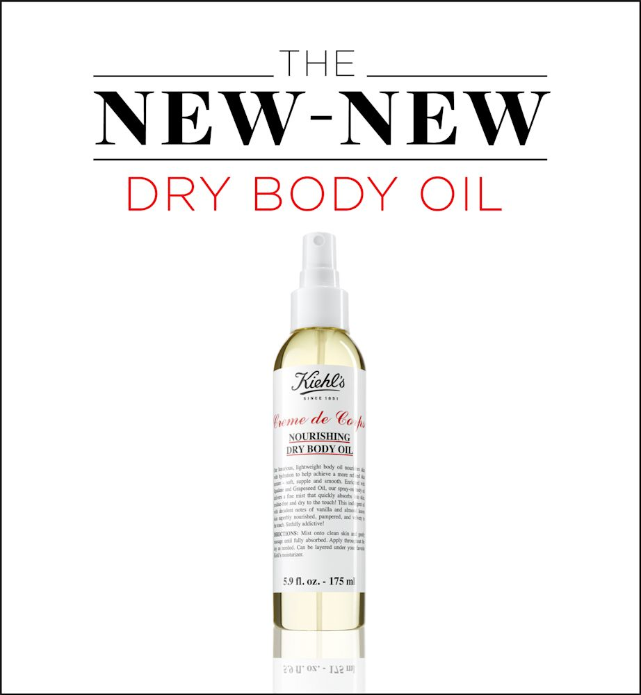 Finally! A body oil that won't leave ruin your clothes with grease stains. (Photo: Kiehl's; Art: Quinn Lemmers for Yahoo Lifestyle)