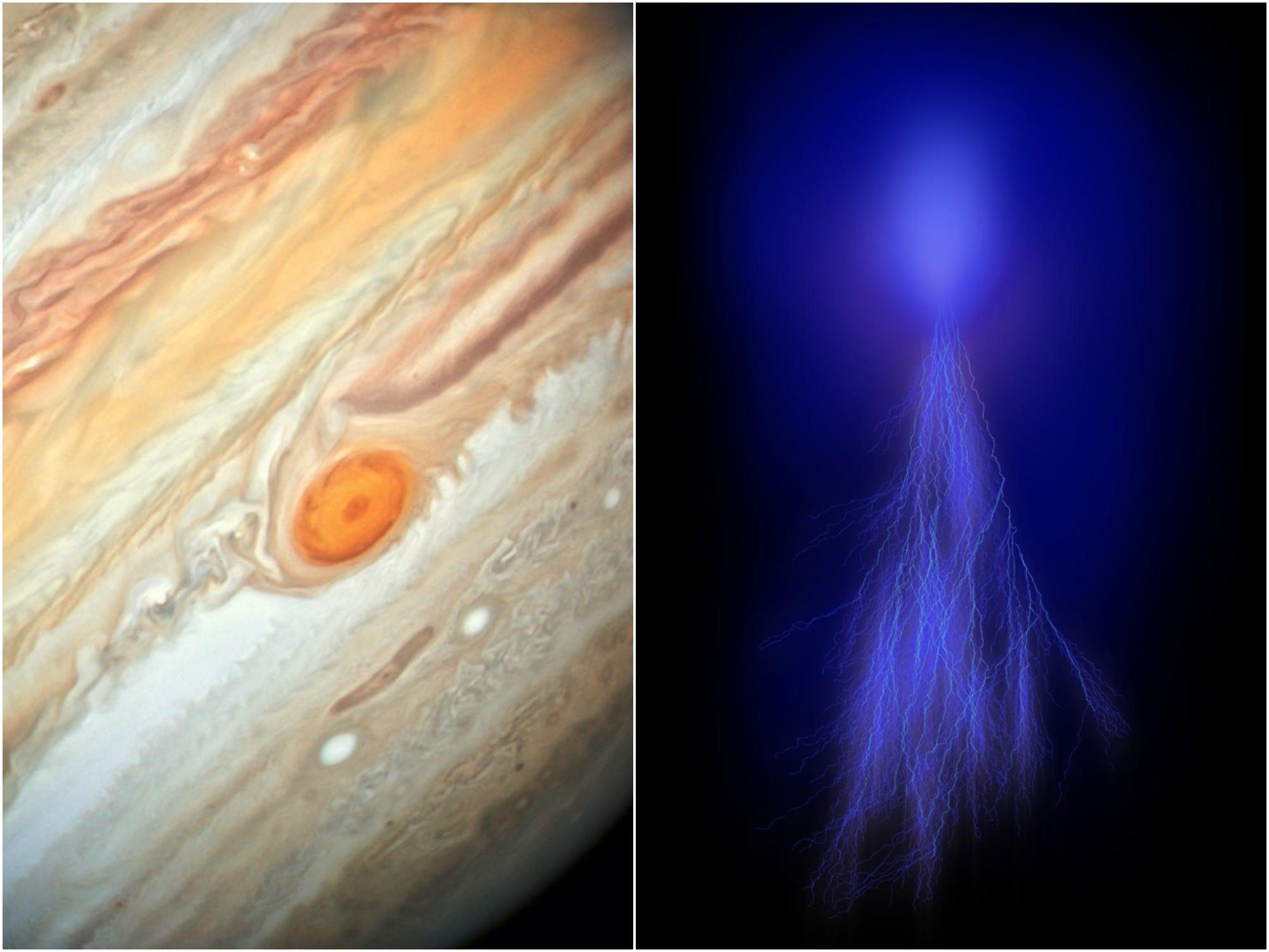 A NASA spacecraft circling Jupiter has captured the planet's colorful electrical outbursts — sprites and elves — for the first time