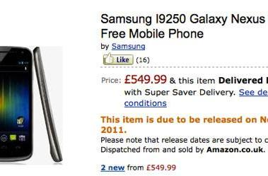 Samsung makes Galaxy Nexus release date official, available in the UK on November 17th